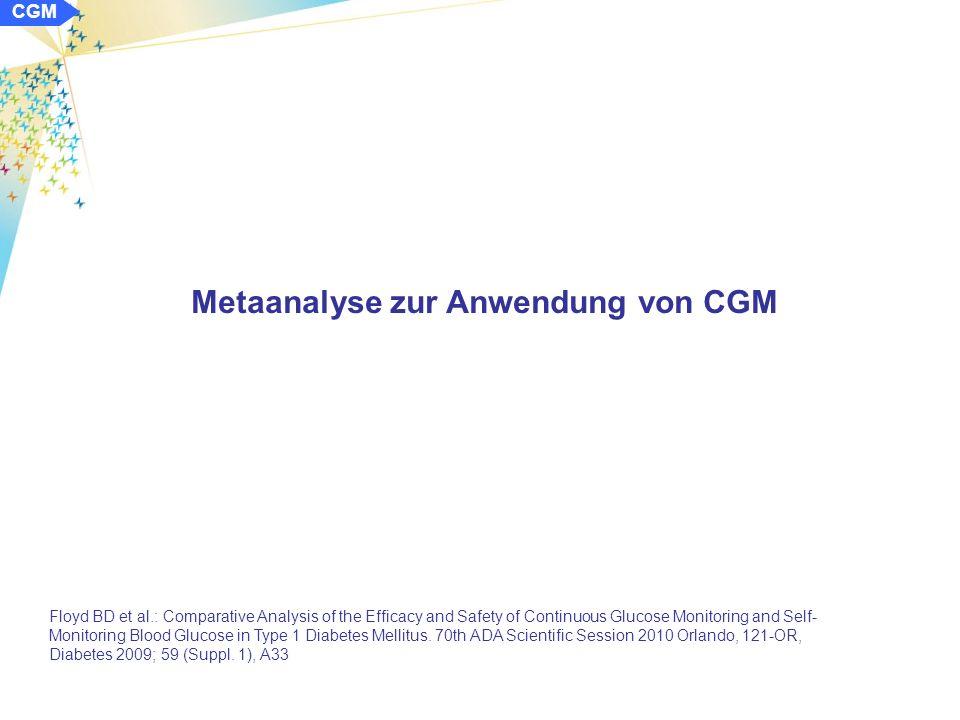 Kontinuierliches Glukosemonitorings (CGM) und Sensorunterstützte Pumpentherapie (SuP) CGM Diskutierte Schwerpunkte/Komplexe: -Studien und Metaanalysen zu CGM und SuP -Verbesserung der Glykämie durch CGM und SuP -CGM und glykämische Variabilität -Anwendung CGM für AP