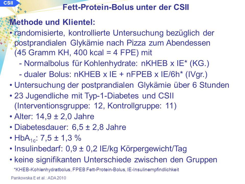 Pankowska E et al.: ADA 2010 Fett-Protein-Bolus unter der CSII Methode und Klientel: randomisierte, kontrollierte Untersuchung bezüglich der postprandialen Glykämie nach Pizza zum Abendessen (45 Gramm KH, 400 kcal = 4 FPE) mit -Normalbolus für Kohlenhydrate: nKHEB x IE* (KG.) -dualer Bolus: nKHEB x IE + nFPEB x IE/6h* (IVgr.) Untersuchung der postprandialen Glykämie über 6 Stunden 23 Jugendliche mit Typ-1-Diabetes und CSII (Interventionsgruppe: 12, Kontrollgruppe: 11) Alter: 14,9 ± 2,0 Jahre Diabetesdauer: 6,5 ± 2,8 Jahre HbA 1c : 7,5 ± 1,3 % Insulinbedarf: 0,9 ± 0,2 IE/kg Körpergewicht/Tag keine signifikanten Unterschiede zwischen den Gruppen *KHEB-Kohlenhydratbolus, FPEB Fett-Protein-Bolus, IE-Insulinempfindlichkeit CSII