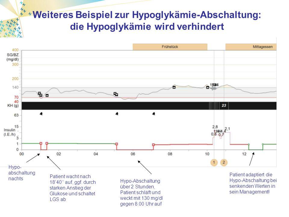 146±46 mg/dl 122±37 mg/dl Beispiel: Erfolgreiche Anwendung der SuP mit Hypo-Abschaltung bzw.