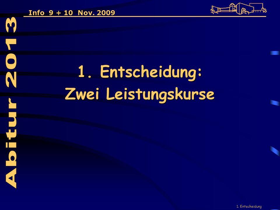 1. Entscheidung 1. Entscheidung: Zwei Leistungskurse Info 9 + 10 Nov. 2009