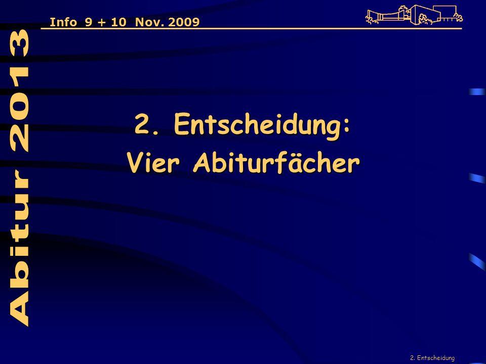 2. Entscheidung 2. Entscheidung: Vier Abiturfächer Info 9 + 10 Nov. 2009