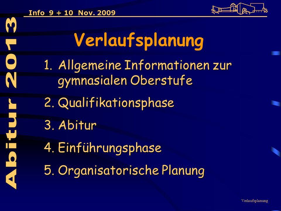 Verlaufsplanung 1.Allgemeine Informationen zur gymnasialen Oberstufe 2.Qualifikationsphase 3.Abitur 4.Einführungsphase 5.Organisatorische Planung Verlaufsplanung Info 9 + 10 Nov.