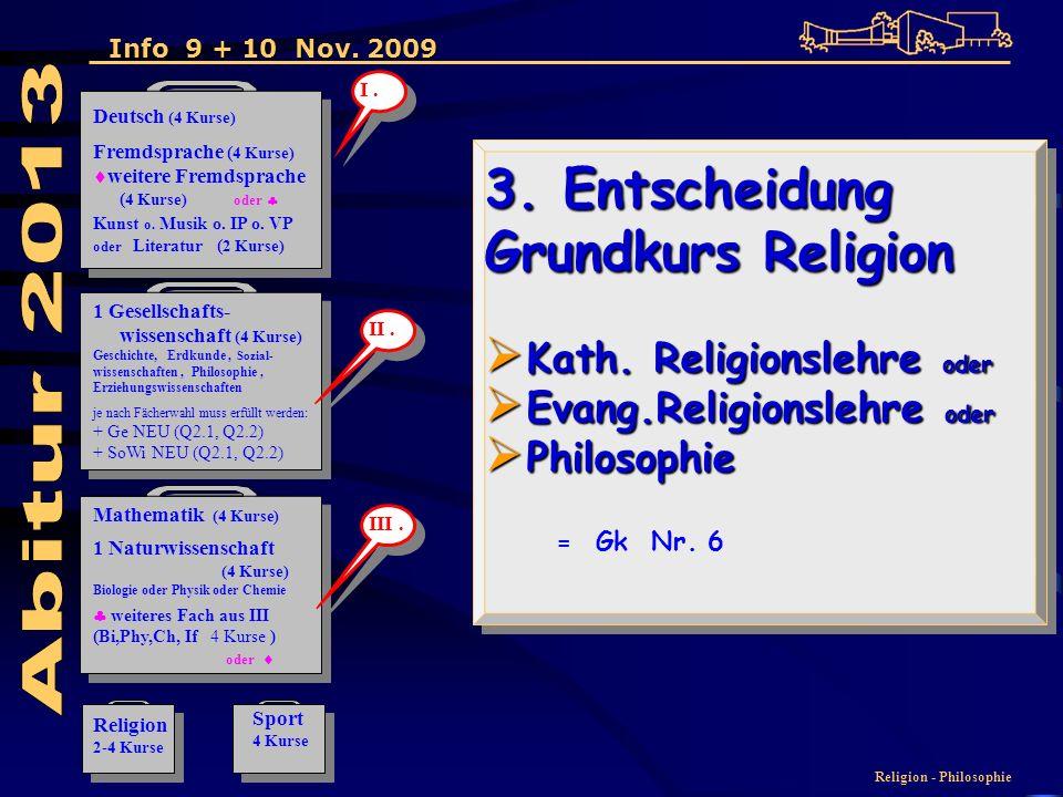 Religion - Philosophie 3. Entscheidung Grundkurs Religion Kath.