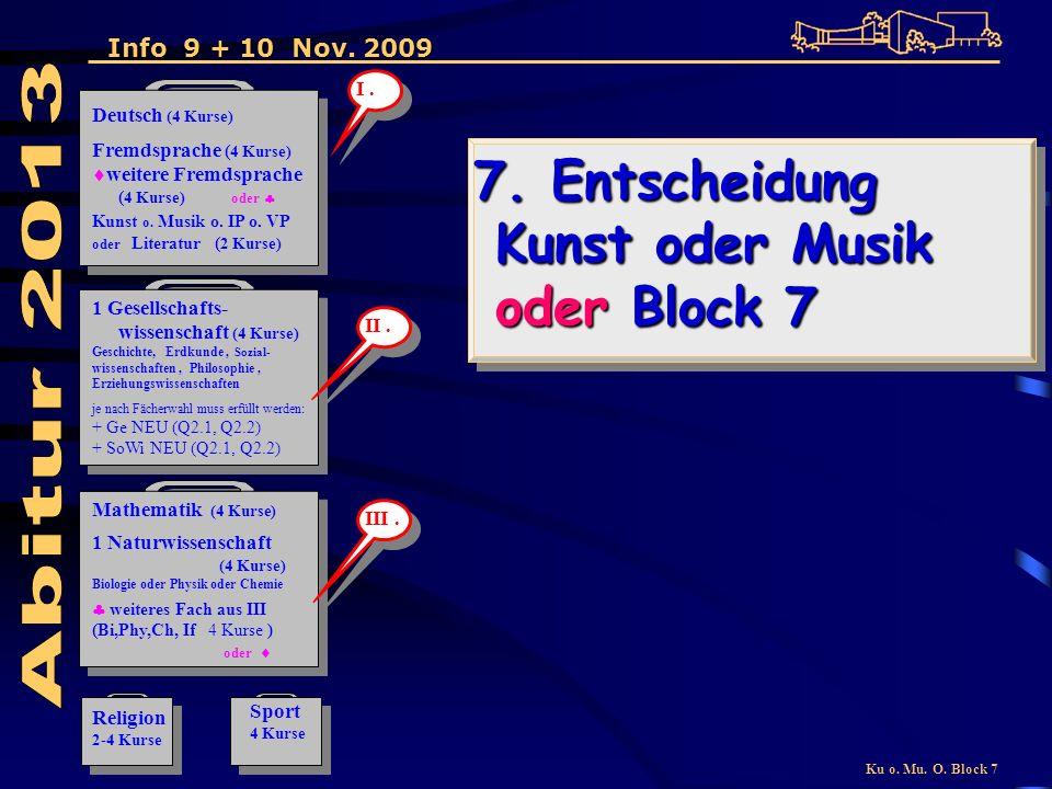 Ku o. Mu. O. Block 7 7. Entscheidung Kunst oder Musik oder Block 7 7.