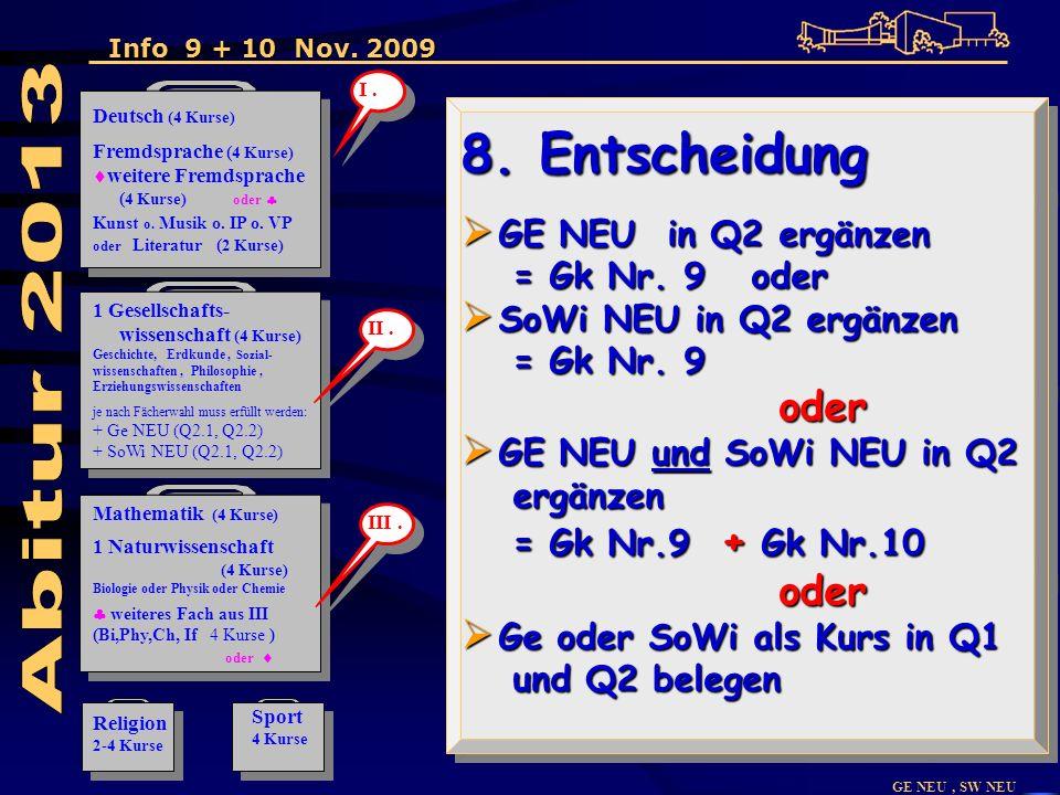 GE NEU, SW NEU 8. Entscheidung GE NEU in Q2 ergänzen GE NEU in Q2 ergänzen = Gk Nr.