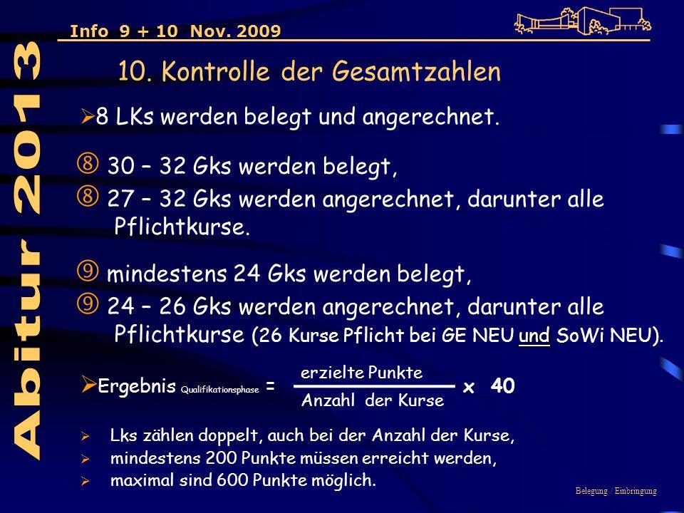 Ergebnis Qualifikationsphase = x 40 30 – 32 Gks werden belegt, 27 – 32 Gks werden angerechnet, darunter alle Pflichtkurse.