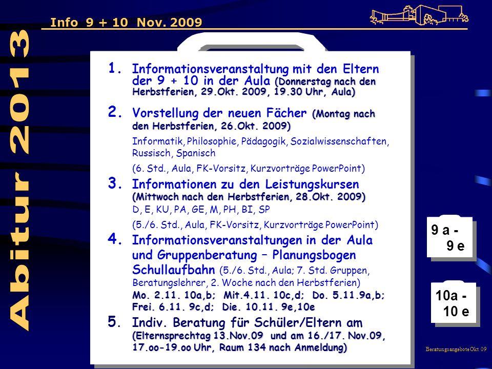 (Donnerstag nach den Herbstferien, 29.Okt. 2009, 19.30 Uhr, Aula) 1.