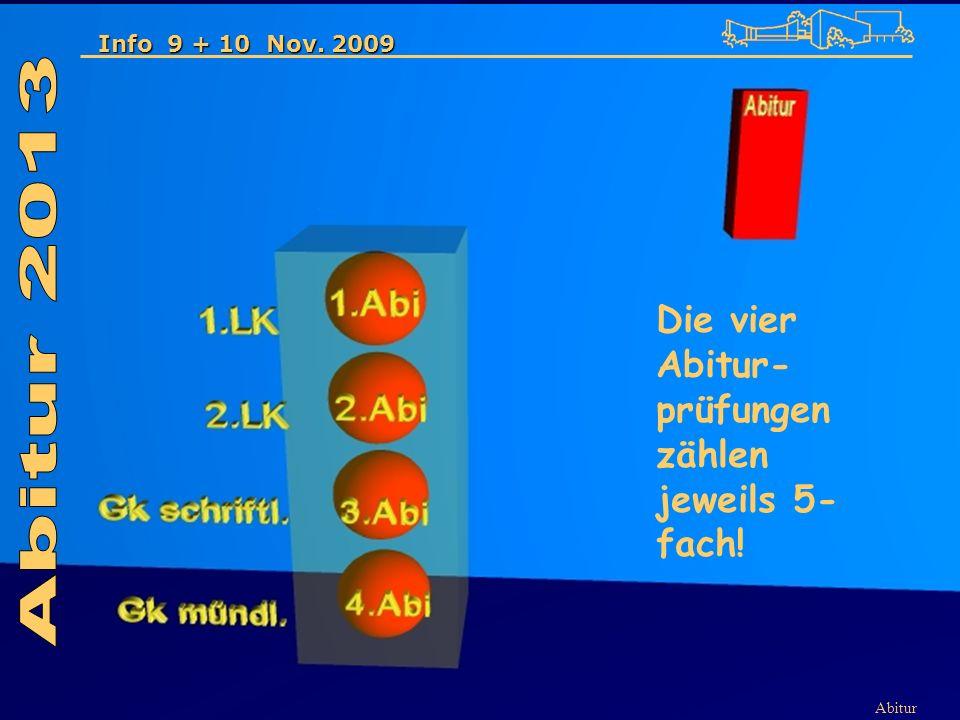 Abitur Info 9 + 10 Nov. 2009 Die vier Abitur- prüfungen zählen jeweils 5- fach!