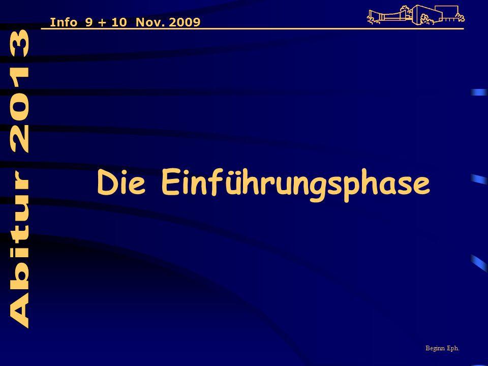 Die Einführungsphase Beginn Eph. Info 9 + 10 Nov. 2009