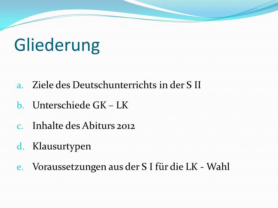 Gliederung a. Ziele des Deutschunterrichts in der S II b. Unterschiede GK – LK c. Inhalte des Abiturs 2012 d. Klausurtypen e. Voraussetzungen aus der