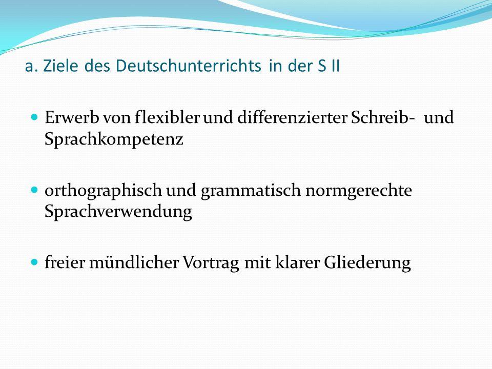 a. Ziele des Deutschunterrichts in der S II Erwerb von flexibler und differenzierter Schreib- und Sprachkompetenz orthographisch und grammatisch normg