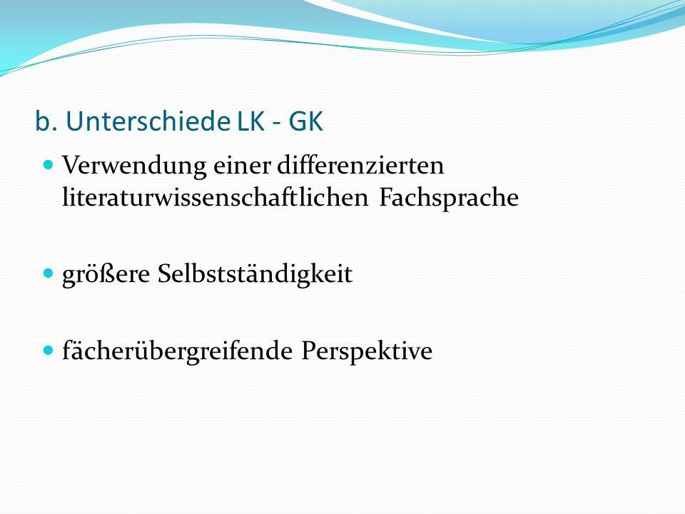 b. Unterschiede LK - GK Verwendung einer differenzierten literaturwissenschaftlichen Fachsprache größere Selbstständigkeit fächerübergreifende Perspek