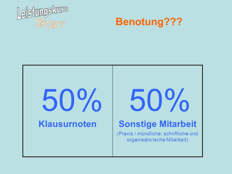 Benotung??? 50% KlausurnotenSonstige Mitarbeit (Praxis / mündliche, schriftliche und organisatorische Mitarbeit)