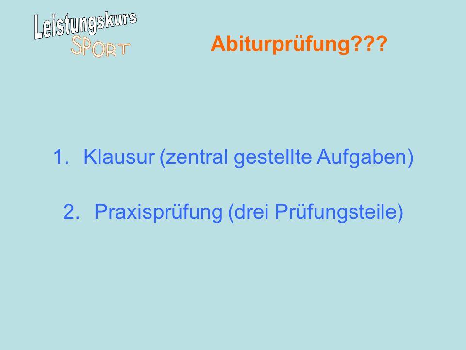 Abiturprüfung??? 1.Klausur (zentral gestellte Aufgaben) 2.Praxisprüfung (drei Prüfungsteile)