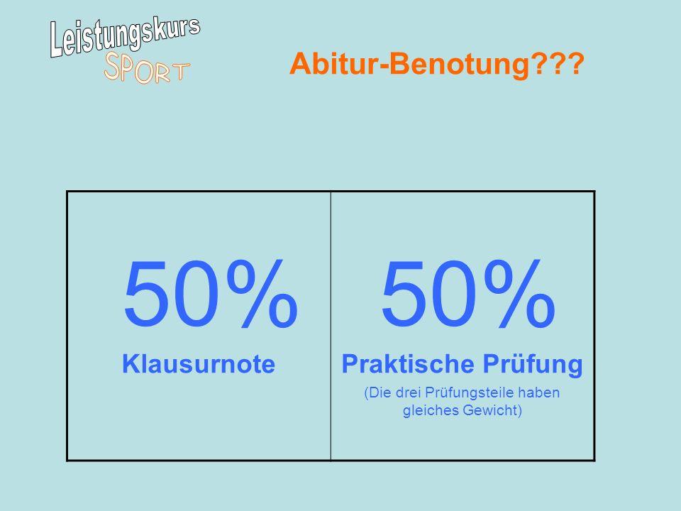Abitur-Benotung??? 50% KlausurnotePraktische Prüfung (Die drei Prüfungsteile haben gleiches Gewicht)