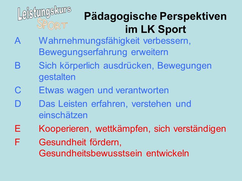 Pädagogische Perspektiven im LK Sport A Wahrnehmungsfähigkeit verbessern, Bewegungserfahrung erweitern B Sich körperlich ausdrücken, Bewegungen gestal
