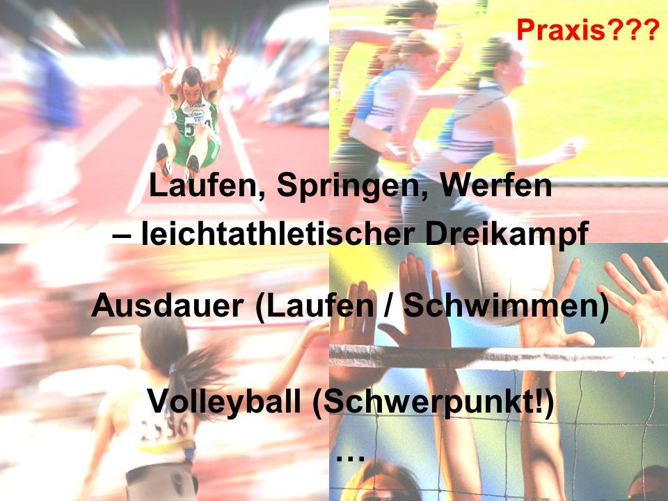 Praxis??? Laufen, Springen, Werfen – leichtathletischer Dreikampf Ausdauer (Laufen / Schwimmen) Volleyball (Schwerpunkt!) …