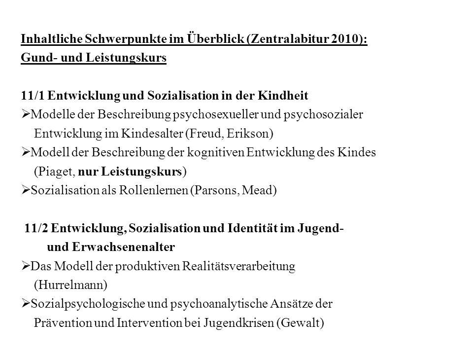 Inhaltliche Schwerpunkte im Überblick (Zentralabitur 2010): Gund- und Leistungskurs 11/1 Entwicklung und Sozialisation in der Kindheit Modelle der Bes