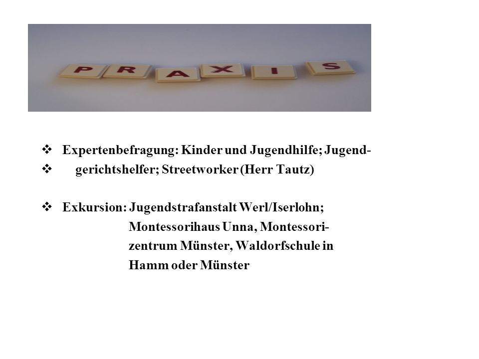 Expertenbefragung: Kinder und Jugendhilfe; Jugend- gerichtshelfer; Streetworker (Herr Tautz) Exkursion: Jugendstrafanstalt Werl/Iserlohn; Montessoriha