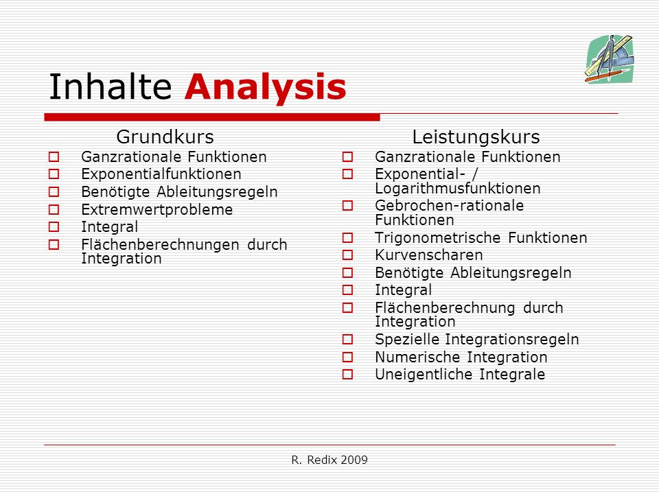 R. Redix 2009 Inhalte Analysis Grundkurs Ganzrationale Funktionen Exponentialfunktionen Benötigte Ableitungsregeln Extremwertprobleme Integral Flächen
