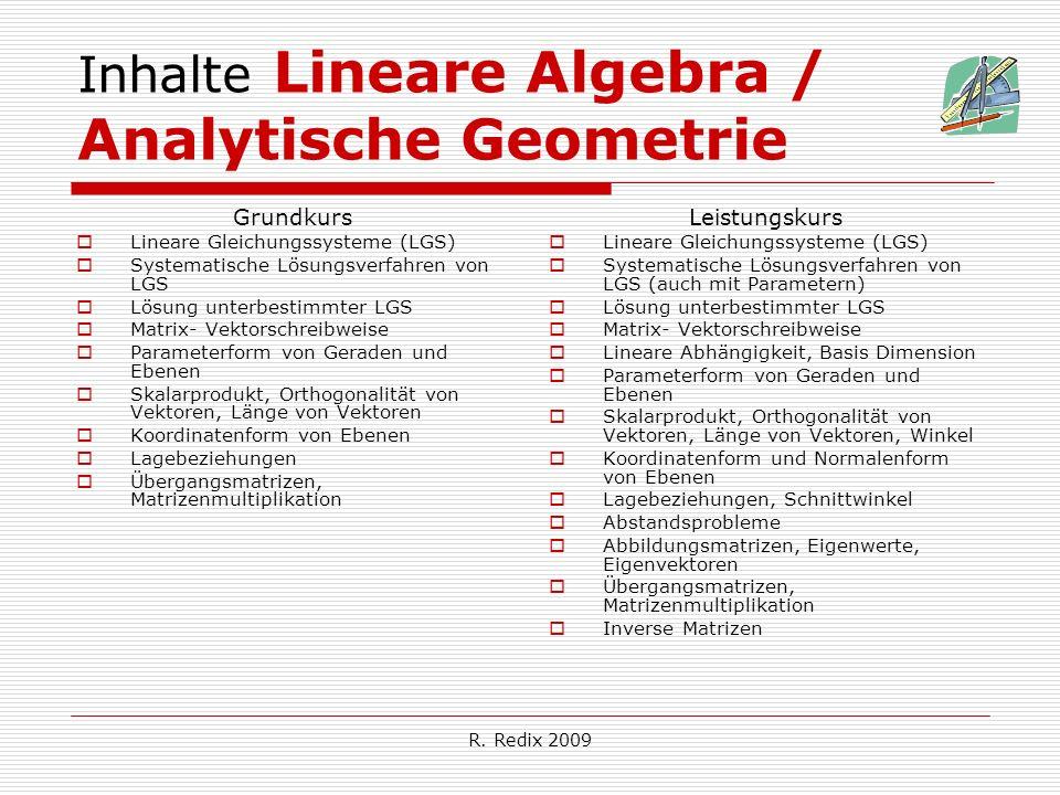 R. Redix 2009 Inhalte Lineare Algebra / Analytische Geometrie Grundkurs Lineare Gleichungssysteme (LGS) Systematische Lösungsverfahren von LGS Lösung