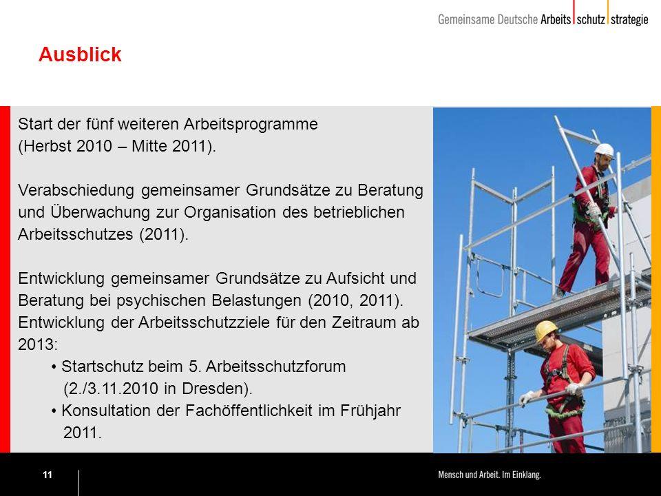 11 Ausblick Start der fünf weiteren Arbeitsprogramme (Herbst 2010 – Mitte 2011).