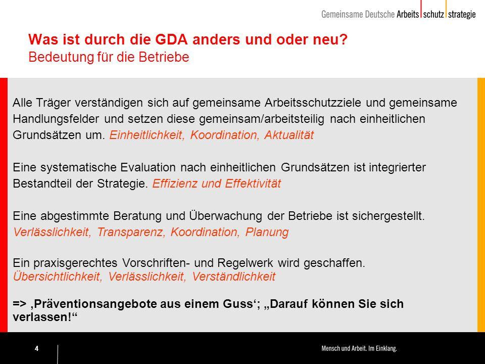 4 Was ist durch die GDA anders und oder neu.