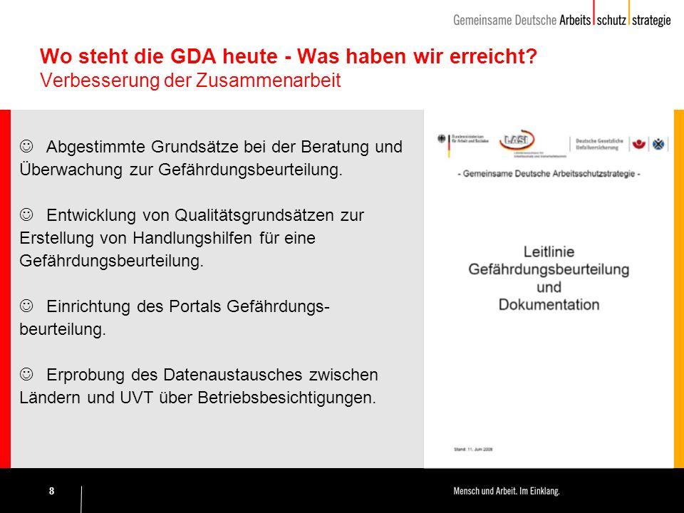 8 Wo steht die GDA heute - Was haben wir erreicht.