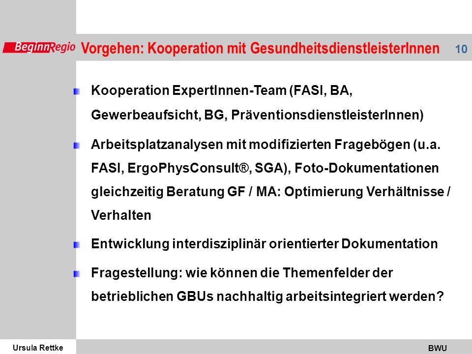 Ursula Rettke BWU 10 Vorgehen: Kooperation mit GesundheitsdienstleisterInnen Kooperation ExpertInnen-Team (FASI, BA, Gewerbeaufsicht, BG, PräventionsdienstleisterInnen) Arbeitsplatzanalysen mit modifizierten Fragebögen (u.a.