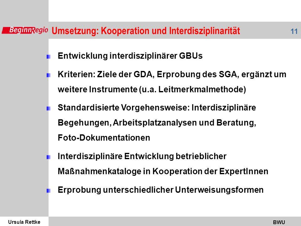 Ursula Rettke BWU 11 Umsetzung: Kooperation und Interdisziplinarität Entwicklung interdisziplinärer GBUs Kriterien: Ziele der GDA, Erprobung des SGA, ergänzt um weitere Instrumente (u.a.