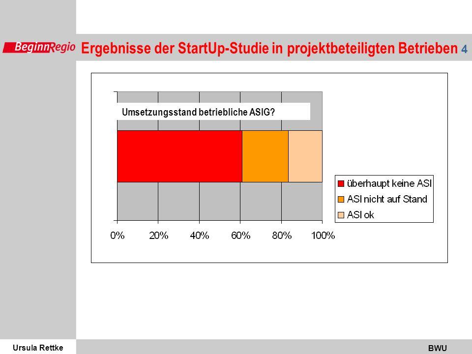 Ursula Rettke BWU 5 Standort Bremen / Bremerhaven Zeit des Bestehens / Existenzgründung Branche Gefährdungen, Belastungen Berufsgenossenschaft Unternehmensführung m / w / migr.