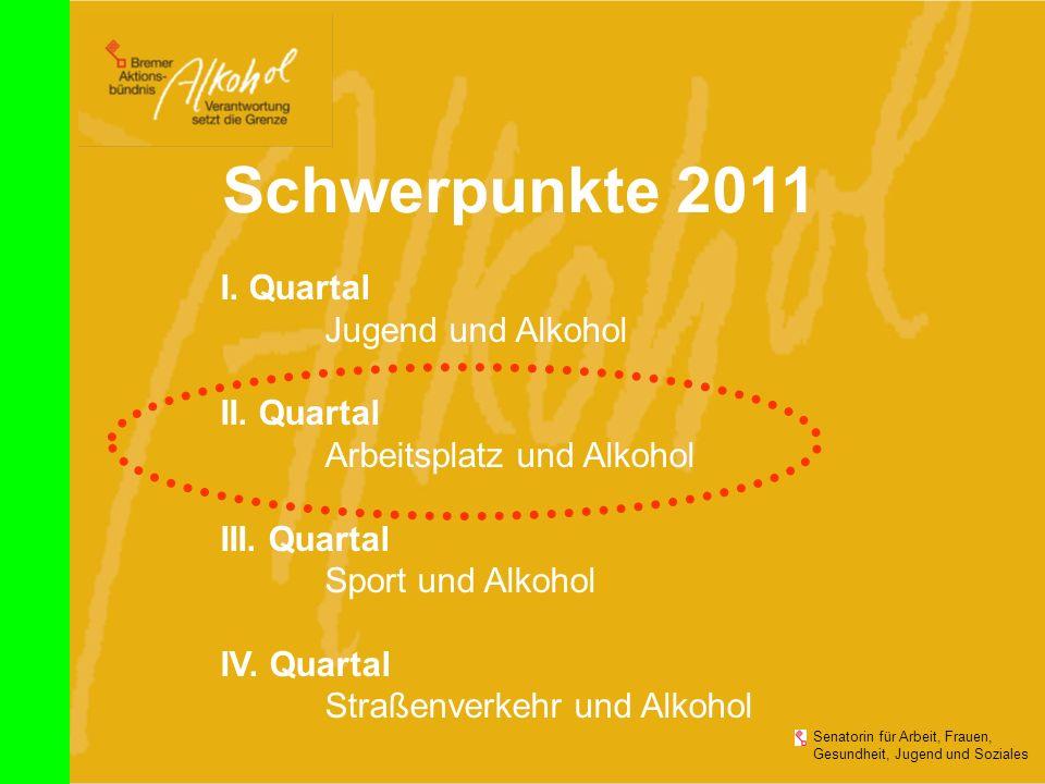 Senatorin für Arbeit, Frauen, Gesundheit, Jugend und Soziales Schwerpunkte 2011 I. Quartal Jugend und Alkohol II. Quartal Arbeitsplatz und Alkohol III