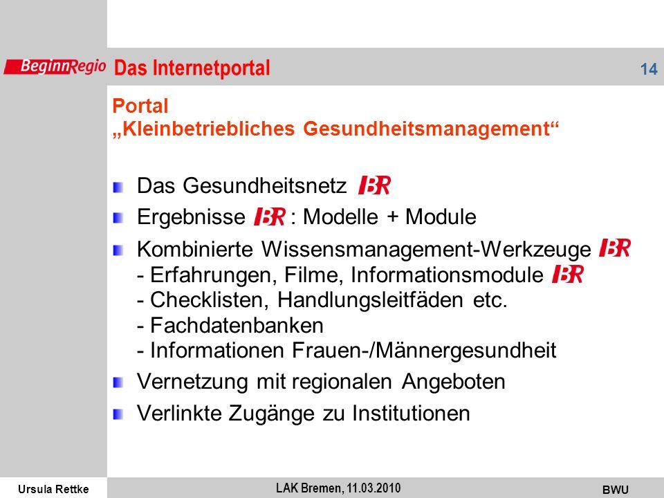 Ursula Rettke BWU 14 LAK Bremen, 11.03.2010 Portal Kleinbetriebliches Gesundheitsmanagement Das Gesundheitsnetz Ergebnisse : Modelle + Module Kombinie