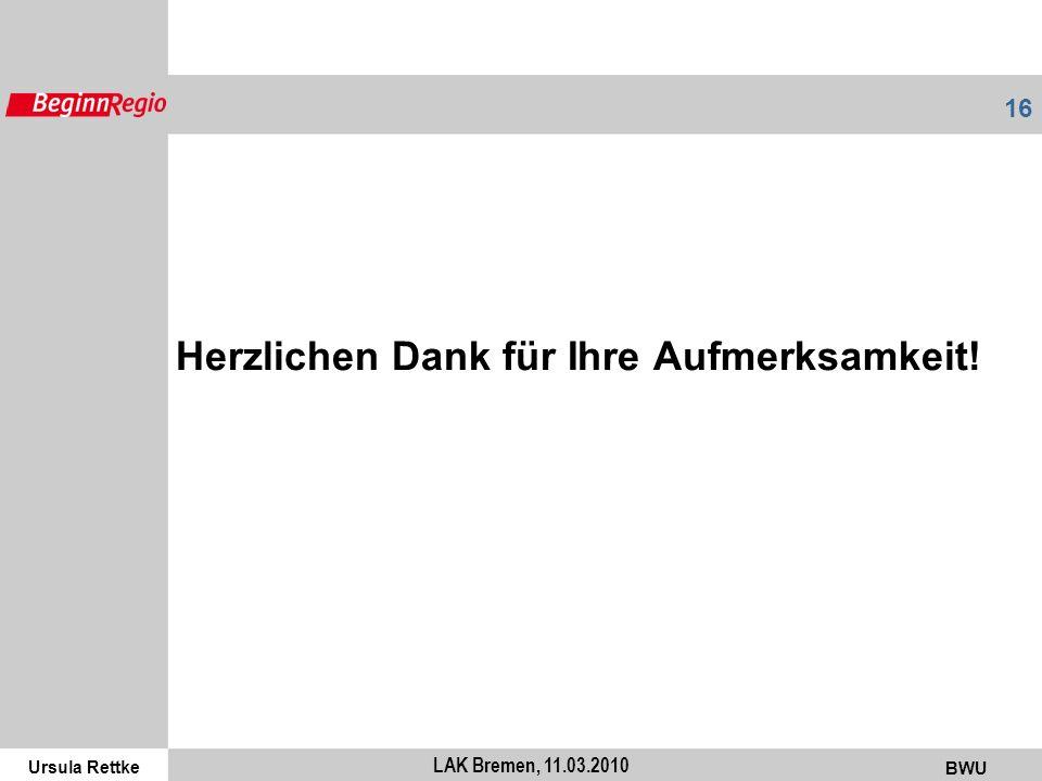Ursula Rettke BWU 16 LAK Bremen, 11.03.2010 Herzlichen Dank für Ihre Aufmerksamkeit!