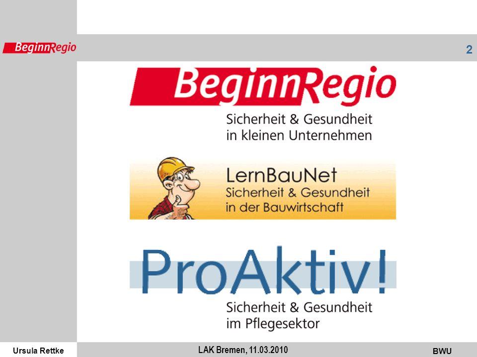 Ursula Rettke BWU 3 LAK Bremen, 11.03.2010 KKU / KMU: 99,7% aller Betriebe in BRD 70% aller Beschäftigten, 80% aller Azubis BAuA: 28 Mrd.