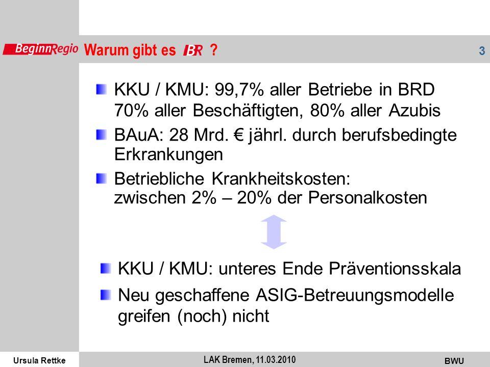 Ursula Rettke BWU 3 LAK Bremen, 11.03.2010 KKU / KMU: 99,7% aller Betriebe in BRD 70% aller Beschäftigten, 80% aller Azubis BAuA: 28 Mrd. jährl. durch