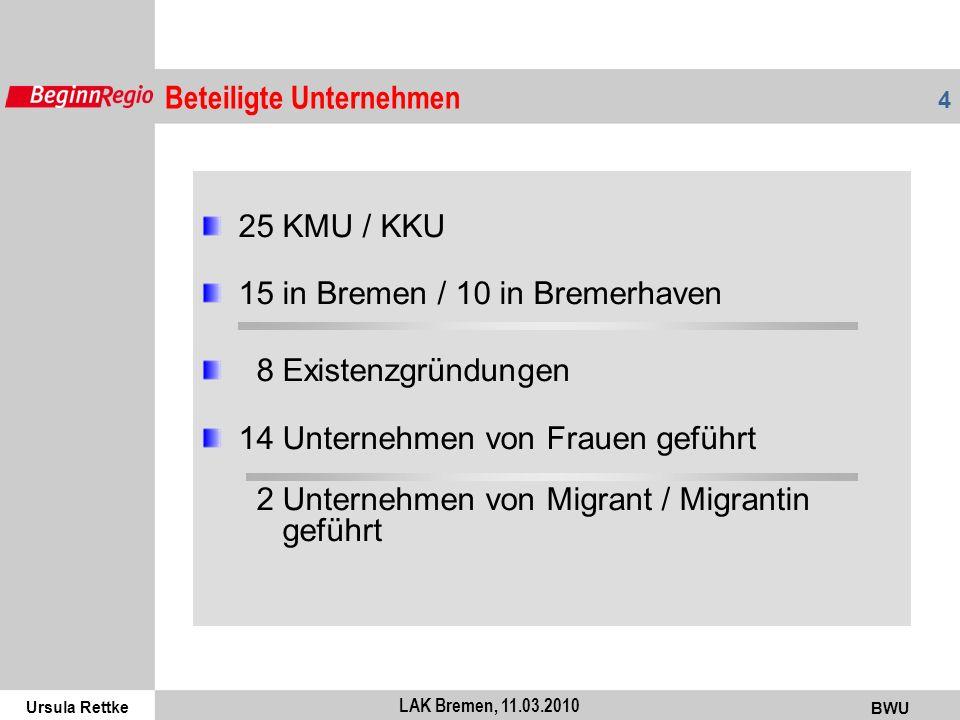Ursula Rettke BWU 4 LAK Bremen, 11.03.2010 25 KMU / KKU 15 in Bremen / 10 in Bremerhaven 8 Existenzgründungen 14 Unternehmen von Frauen geführt 2 Unte