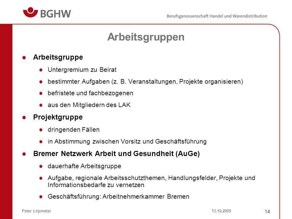 13.10.2009Peter Löpmeier 14 Arbeitsgruppen Arbeitsgruppe Untergremium zu Beirat bestimmter Aufgaben (z. B. Veranstaltungen, Projekte organisieren) bef