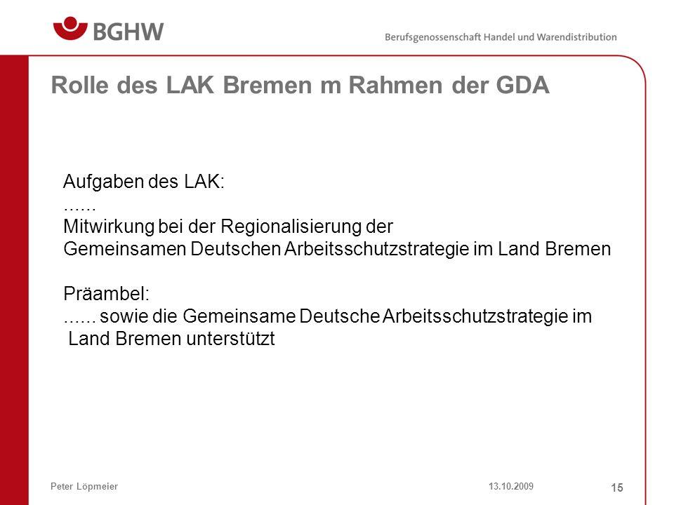 13.10.2009Peter Löpmeier 15 Rolle des LAK Bremen m Rahmen der GDA Aufgaben des LAK:...... Mitwirkung bei der Regionalisierung der Gemeinsamen Deutsche