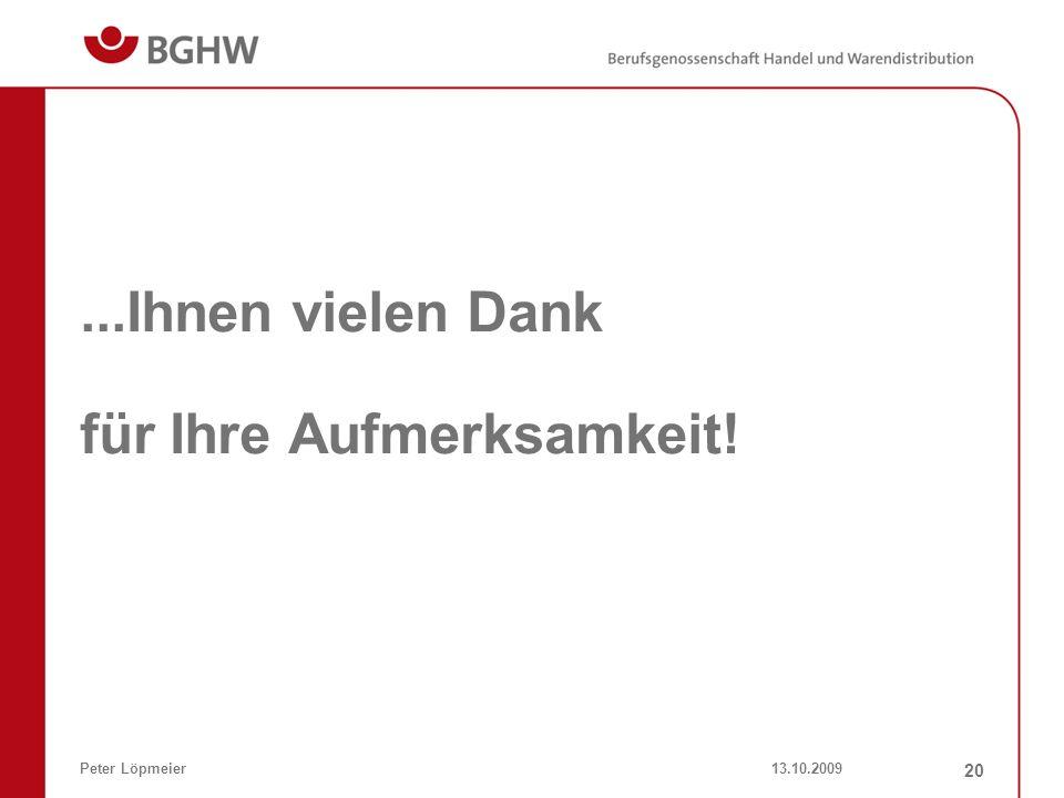 13.10.2009Peter Löpmeier 20...Ihnen vielen Dank für Ihre Aufmerksamkeit!