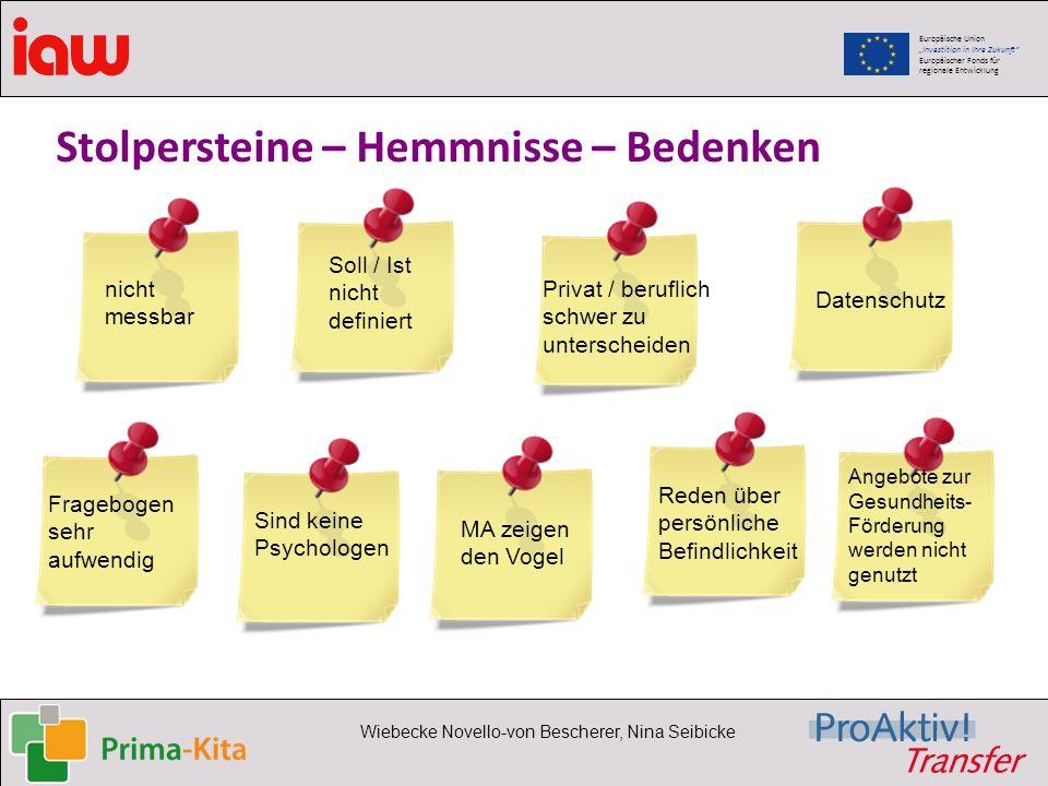 Europäische Union Investition in Ihre Zukunft Europäischer Fonds für regionale Entwicklung Wiebecke Novello-von Bescherer, Nina Seibicke Stolpersteine