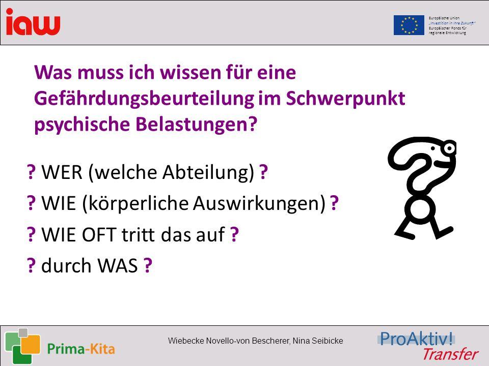 Europäische Union Investition in Ihre Zukunft Europäischer Fonds für regionale Entwicklung Wiebecke Novello-von Bescherer, Nina Seibicke Was muss ich