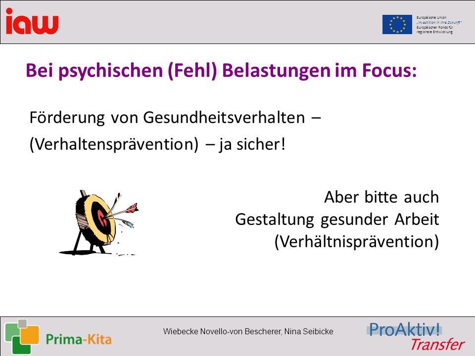 Europäische Union Investition in Ihre Zukunft Europäischer Fonds für regionale Entwicklung Wiebecke Novello-von Bescherer, Nina Seibicke Bei psychisch