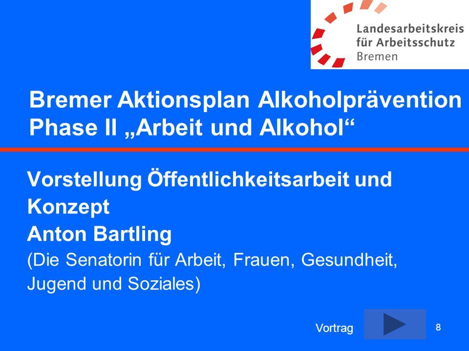 8 Bremer Aktionsplan Alkoholprävention Phase II Arbeit und Alkohol Vorstellung Öffentlichkeitsarbeit und Konzept Anton Bartling (Die Senatorin für Arb