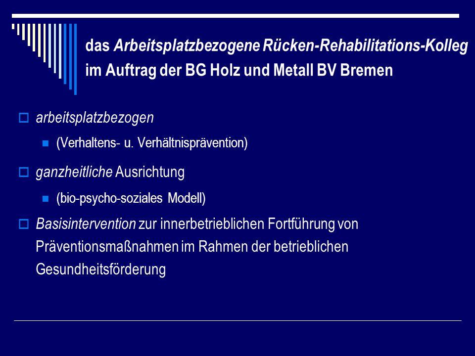 das Arbeitsplatzbezogene Rücken-Rehabilitations-Kolleg im Auftrag der BG Holz und Metall BV Bremen arbeitsplatzbezogen (Verhaltens- u.