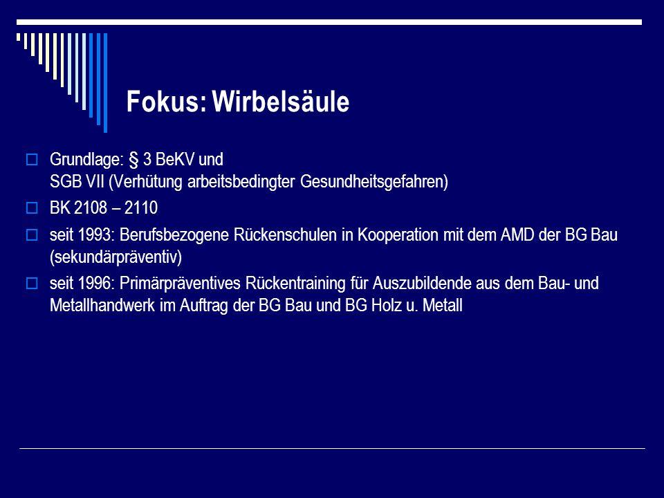 Fokus: Wirbelsäule Grundlage: § 3 BeKV und SGB VII (Verhütung arbeitsbedingter Gesundheitsgefahren) BK 2108 – 2110 seit 1993: Berufsbezogene Rückenschulen in Kooperation mit dem AMD der BG Bau (sekundärpräventiv) seit 1996: Primärpräventives Rückentraining für Auszubildende aus dem Bau- und Metallhandwerk im Auftrag der BG Bau und BG Holz u.
