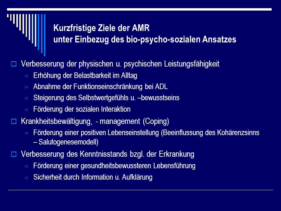 Kurzfristige Ziele der AMR unter Einbezug des bio-psycho-sozialen Ansatzes Verbesserung der physischen u.
