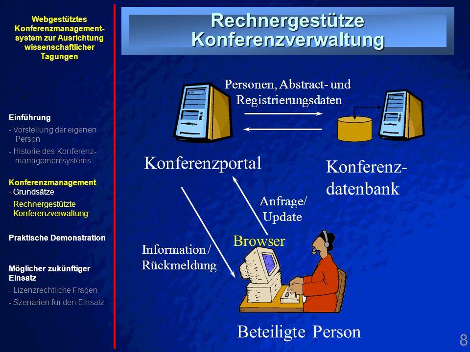 8. Drei-Schichten- Systemarchitektur Beteiligte Person Browser Konferenzportal Konferenz- datenbank Anfrage/ Update Information / Rückmeldung Personen