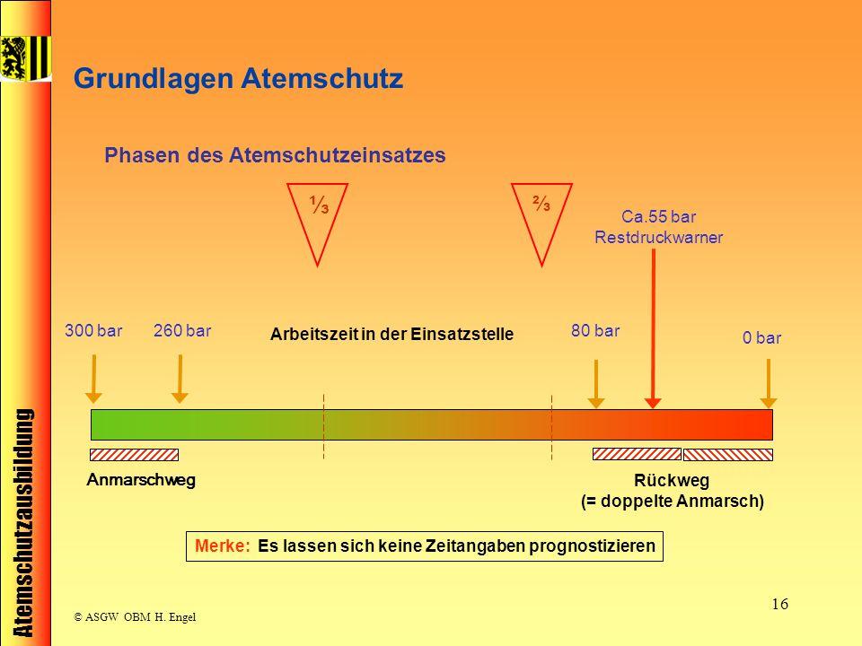 Atemschutzausbildung © ASGW OBM H. Engel 16 Ca.55 bar Restdruckwarner Arbeitszeit in der Einsatzstelle Anmarschweg Rückweg (= doppelte Anmarsch) Merke