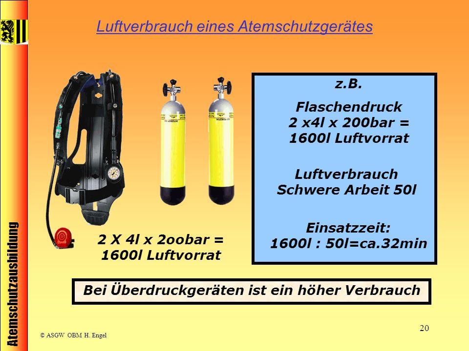 Atemschutzausbildung © ASGW OBM H. Engel 20 Luftverbrauch eines Atemschutzgerätes 2 X 4l x 2oobar = 1600l Luftvorrat z.B. Flaschendruck 2 x4l x 200bar